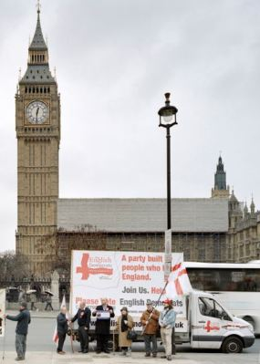 English Democrats protest outside the British Parliament