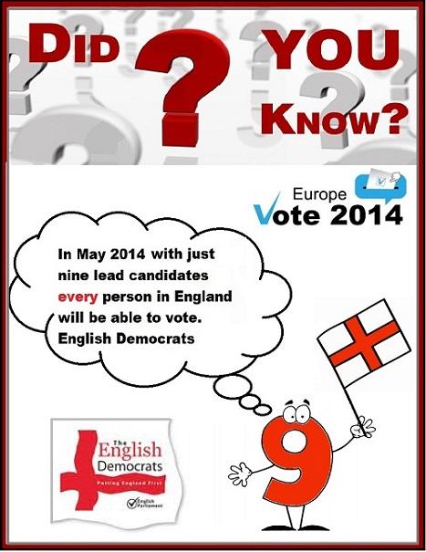 Power of 9 English Democrats Vote 2014