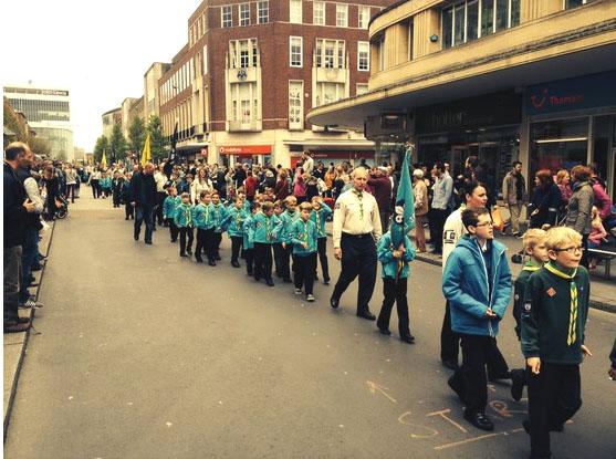 Cubs parade thro Exeter